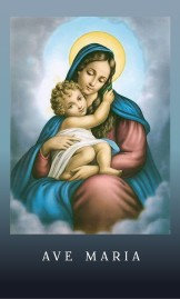 Prayer card-  Traditional  Hail Mary prayer in Latin