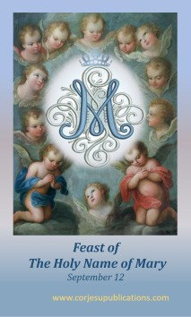 PRAYER CARD -Holy Name of  Mary