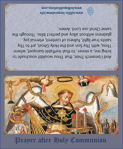 Prayer Cards-St Thomas Aquinas -after communion