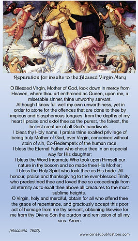 Mega Cards/BookMarks-  Reparation to Our Lady / Special Grace