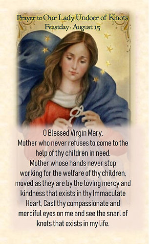 PRAYER CARD- Our Lady of Knots