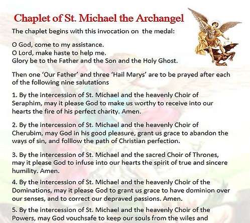 PRAYER CARD  -Chaplet of  St Michael