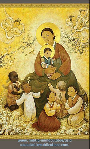 MI Prayer Card in Korean - O Mary conceived without sin