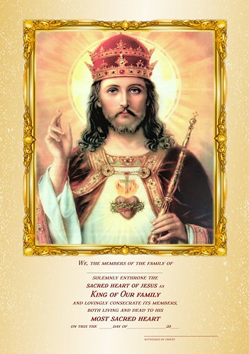 Certificate of Enthronement of Sacred Heart/Christ the King