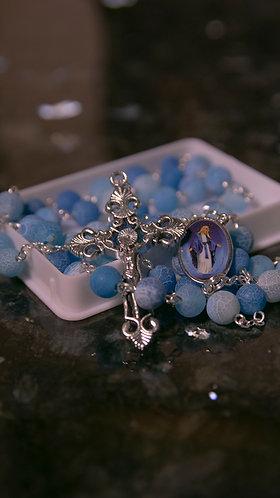 ROSARY - MI- D4 stone beads - St Maximilian/BVM