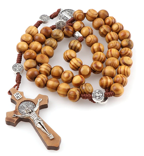 St Benedict Rosary of cord/wooden beads