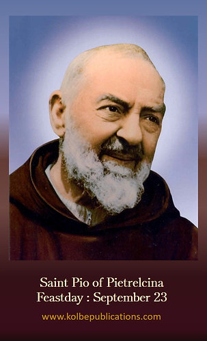 PRAYER CARD-Padre Pio Chaplet Prayer