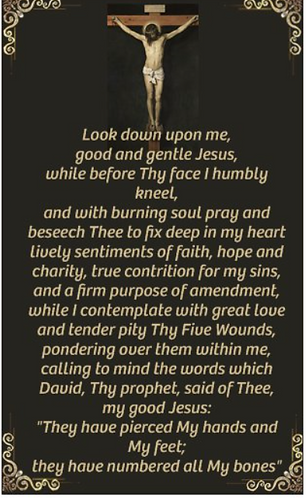 Prayer Card - prayer before a Crucifix