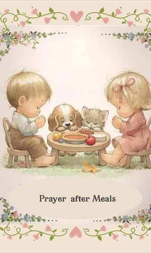 Children Prayer Card- Prayer after meals