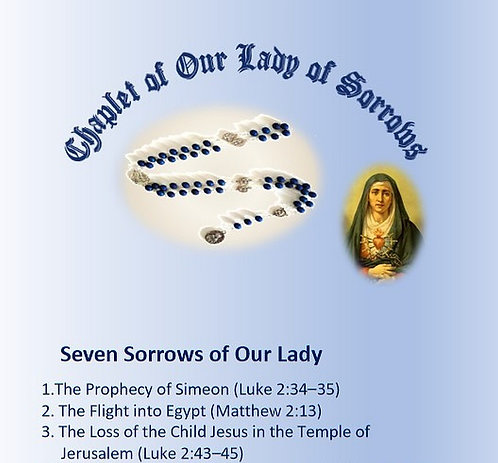 PRAYER CARD  -Chaplet of  Seven Sorrows of Our Lady