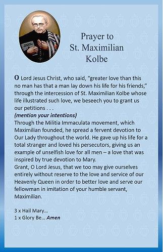 Mega Cards/BookMarks-  Prayer to  St. Maximilian / Immaculata