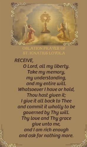 Prayer Card-Oblation Prayer of St Ignatius