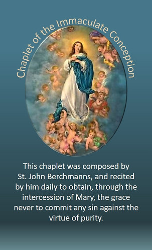 PRAYER CARD  -Chaplet of  The Immaculate Conception