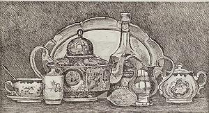 Натюрморт с серебряным подносом
