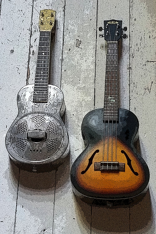 Two Ukes too  - Sue Warren Ukulele Vintage Metal Signs