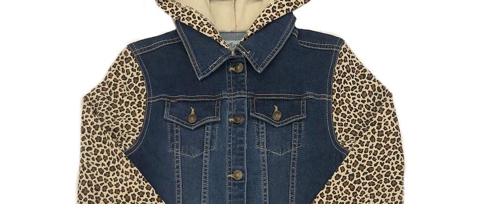 Wallflower- 2Fer Leopard Hooded Jean Jacket