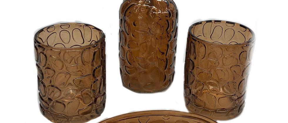 4 Piece Stone Glass Bath Set -Bronze