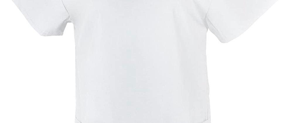 Unisex Medical Scrub V-Neck Top -White