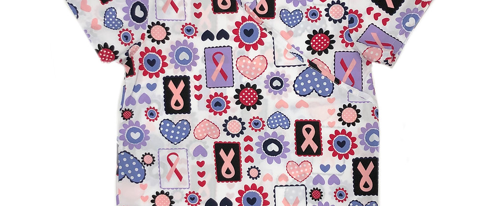 Medical Scrub - Ladies Pink Ribbon V-Neck Mock Wrap Top
