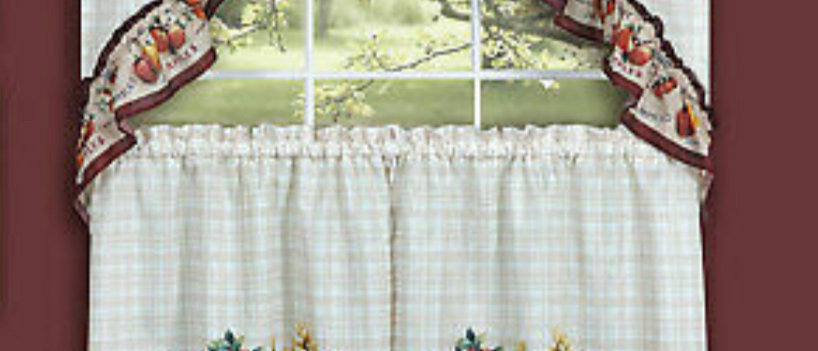 "Farmers Market- 3-pc 36"" Kitchen Curtain Set"