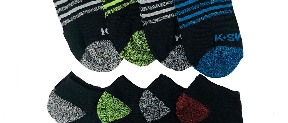Boys' K-SWISS 8pk Low Cut Socks
