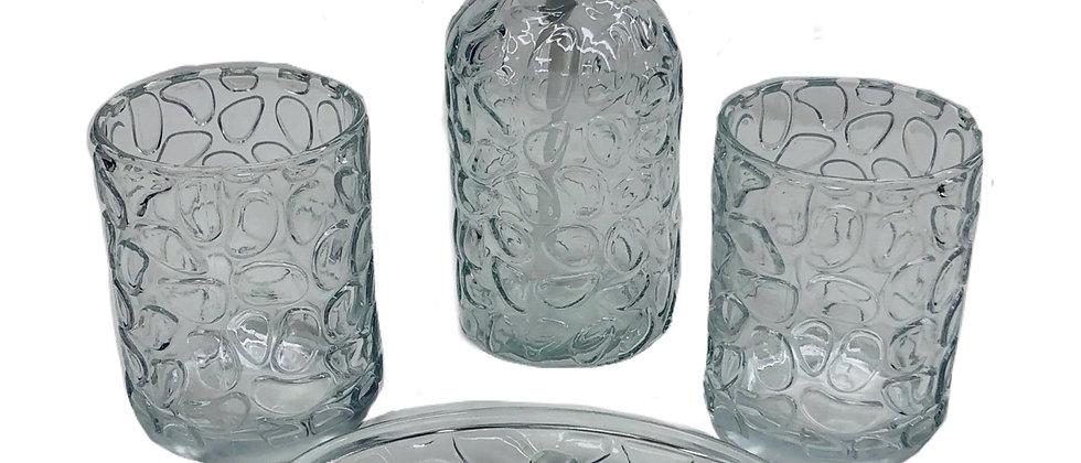 4 Piece Stone Glass Bath Set - Clear