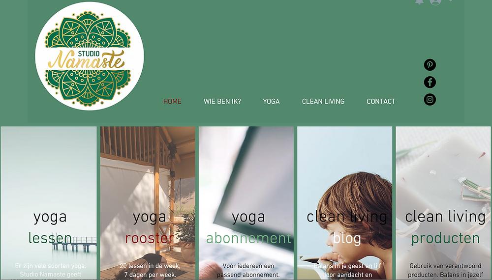 screenshot van nieuwe website