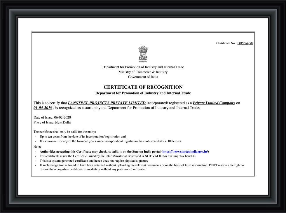 Lansteel DPIIT Recognition