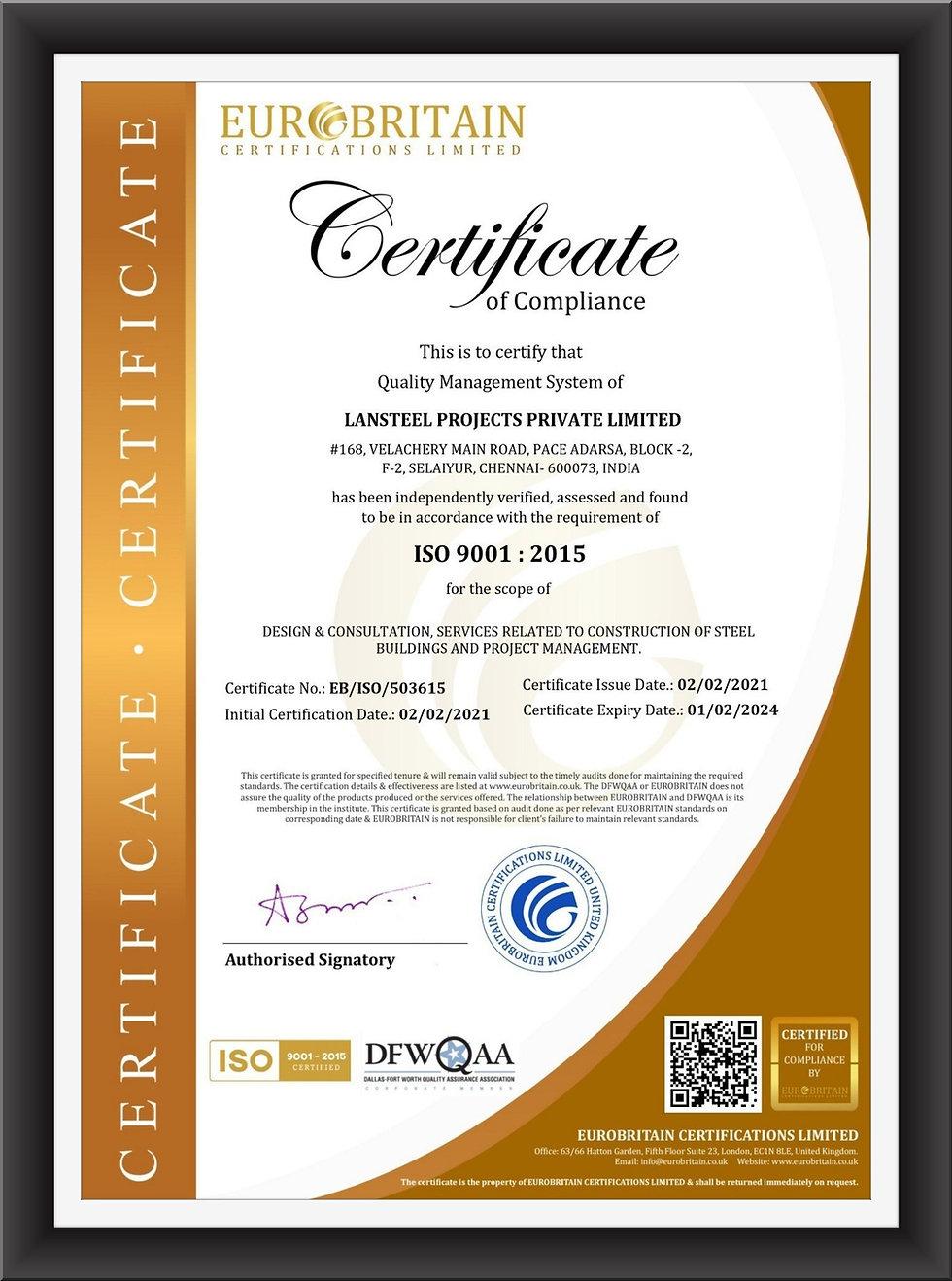 Lansteel ISO 9001:2015 Certificate