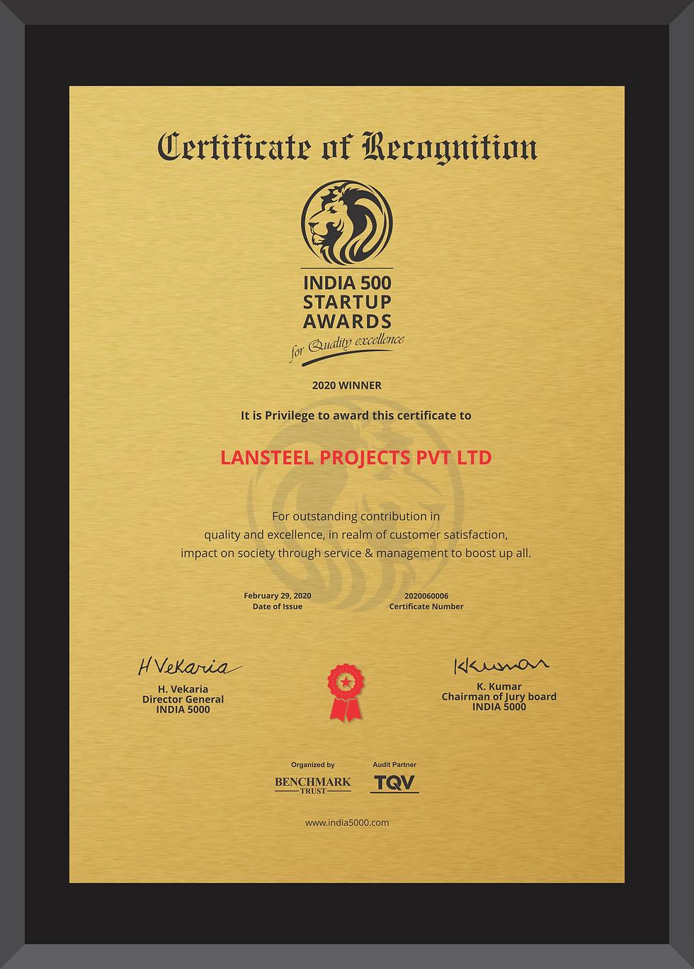 Lansteel Startup Award