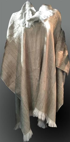 Alpaca poncho frilled neck/Natural