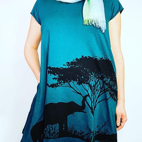 Organic cotton dress-elephant print