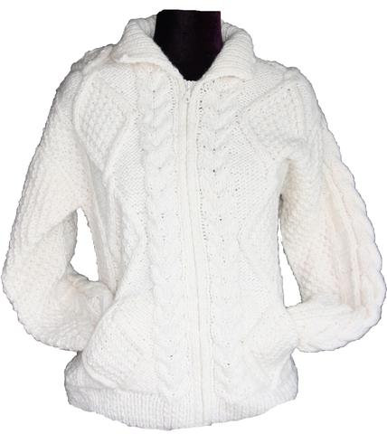 Aran cream sweater with zipper