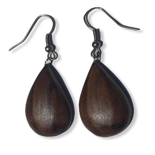 Wood droplet earrings