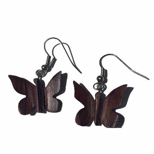 Butterfly earrings wood