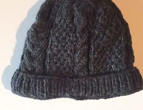 Knit hat-dark brown