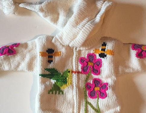 Children sweater white humming bird -lined