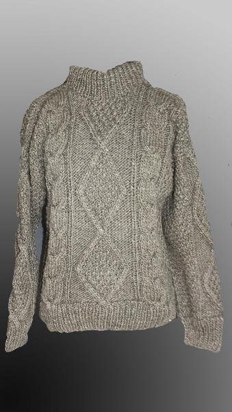 Aran brown sweater traditional crew neck
