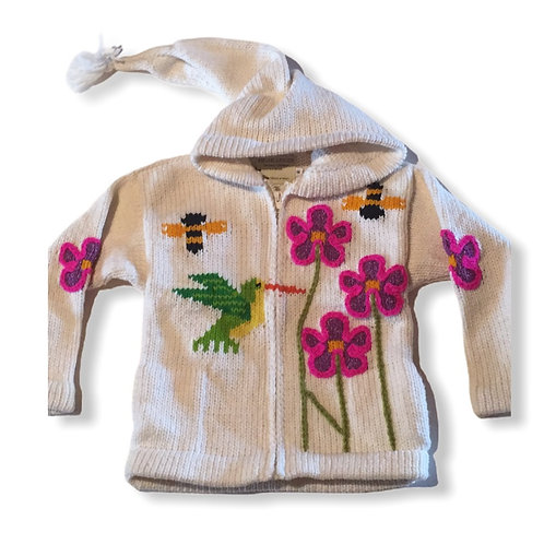 Children sweater white humming bird -lined