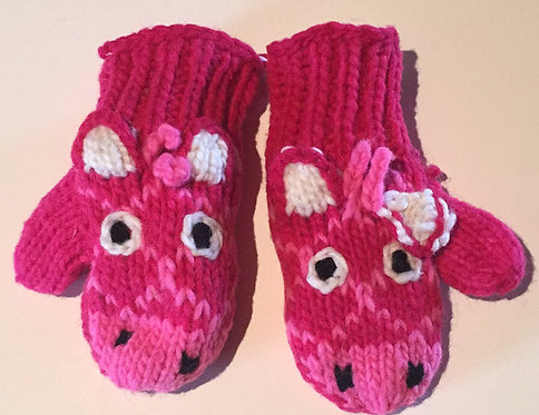 Children mitts small Pink Giraffe