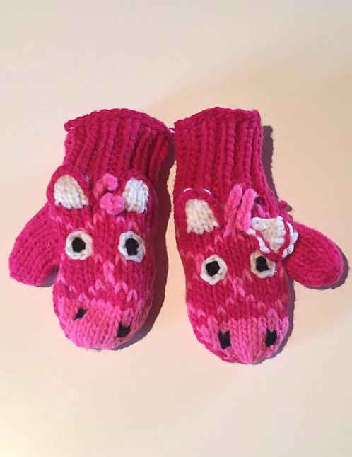 Children mitts small Pink Giraffe