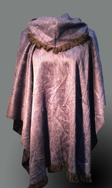 Alpaca poncho frilled neck/Purple