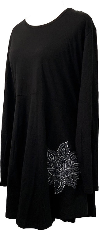 Hand embroidered long sleeve black top