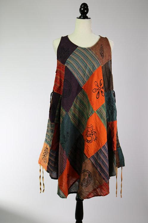 Patch Dress-round neck