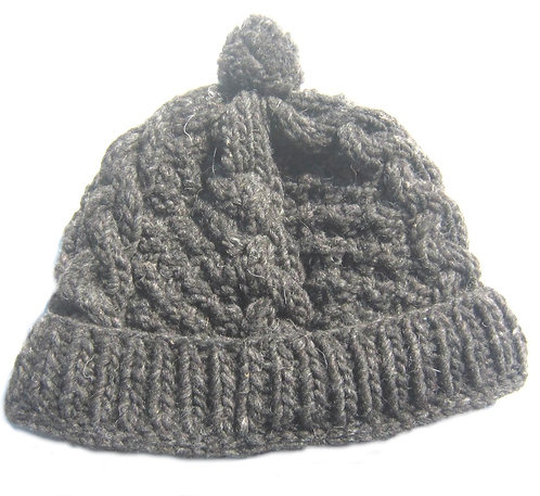 Adult wool knit hat/grey