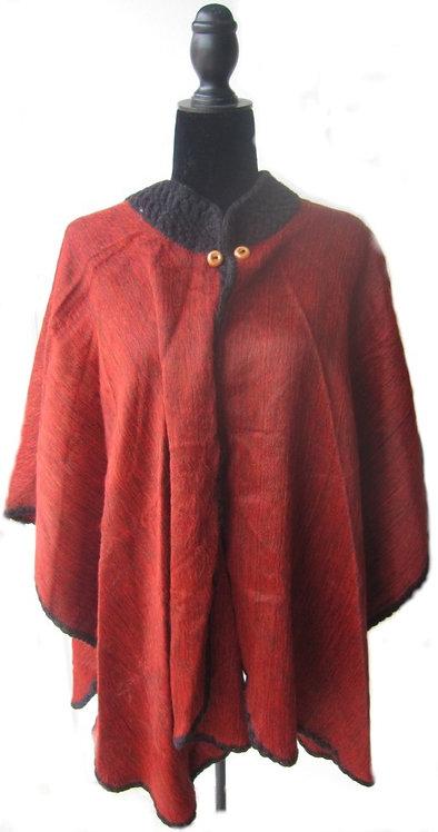Alpaca poncho crochet/Red