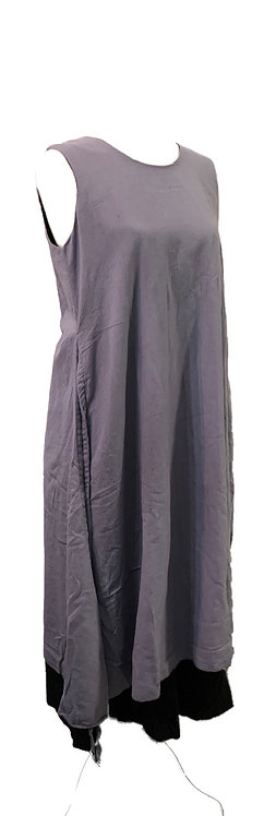 Two layer cotton dress grey/black
