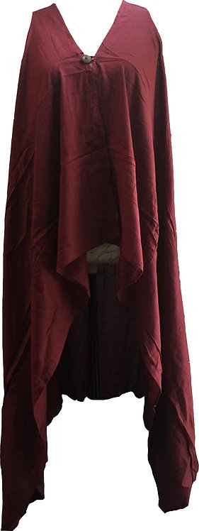 One button cotton vest-maroon