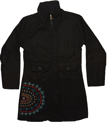 Hand embroidered fleece lined coat