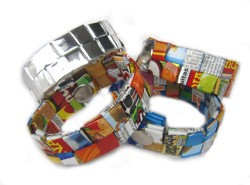 Recycled chip bag bracelet